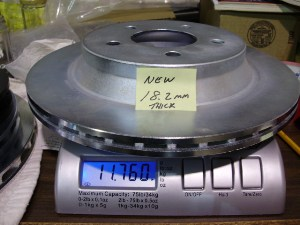 "WEIGHT OF BRAND NEW 11.66"" OEM REAR COBRA ROTOR"